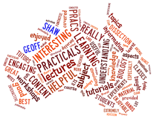 BIOL10004 SES feebdback wordcloud, Semester 1, 2014